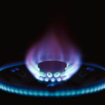 Propane gas burning